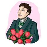 Individuo joven con un ramo de flores ilustración del vector
