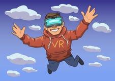 Individuo joven en el vuelo de las auriculares de VR en el cielo Niño feliz en realidad virtual Línea plana colorida ejemplo del  ilustración del vector