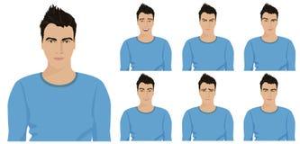 Individuo joven hermoso con diversas emociones y expresiones faciales fijadas Ilustración del vector ilustración del vector