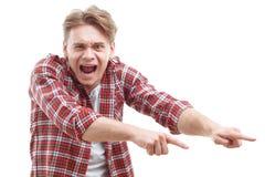 Individuo joven que muestra miedo Foto de archivo libre de regalías