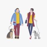 Individuo joven y muchacha que caminan con los perros, ejemplo plano colorido del vector Fotografía de archivo libre de regalías