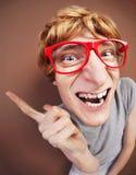 Individuo nerdy divertido imagen de archivo libre de regalías