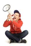 Individuo ocasional que grita a través del megáfono Fotografía de archivo libre de regalías