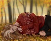 Individuo que dormita en un d?a del oto?o libre illustration