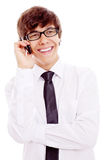 Individuo que habla en el teléfono Fotos de archivo libres de regalías