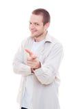 Individuo que señala su dedo Fotos de archivo
