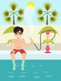 Individuo que se sienta por la piscina con la historieta nargile Fotos de archivo