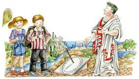 Individuo romano que muestra el reloj del sol a los niños stock de ilustración