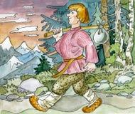 Individuo ruso que va abajo del camino stock de ilustración