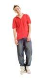 Individuo sonriente en camiseta roja Imágenes de archivo libres de regalías