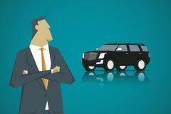 Individuo y coche elegantes de Smart, estilo plano del diseño de personaje de dibujos animados fotos de archivo