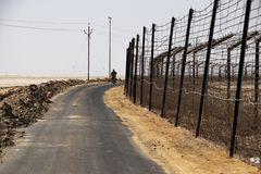 Indo Pak Border at Banaskantha, Gujarat, India. India Pakistan border is the place of allure and has high stakes royalty free stock photography