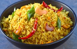 Indian rice bowl - spicy masala rice royalty free stock photo