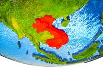 Indochina on 3D Earth. With divided countries and watery oceans. 3D illustration stock images