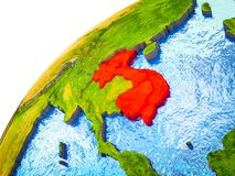 Indochina on 3D Earth. Model with visible country borders. 3D illustration stock image