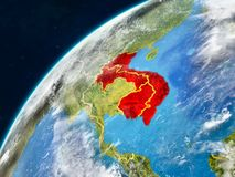 Indochina on Earth with borders. Indochina on realistic model of planet Earth with country borders and very detailed planet surface and clouds. 3D illustration stock photography