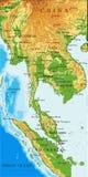 Indochina fysieke kaart Stock Foto's