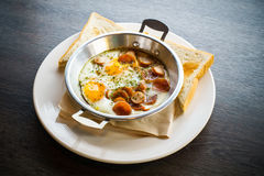 Indochina pan fried egg with toppings, Breakfast food in Thailan Stock Photography