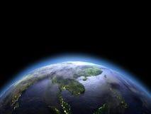 Indochina van ruimte bij dageraad stock illustratie