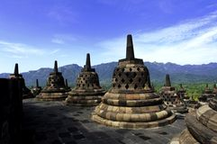 Indonésia, Java central. O templo de Borobudur Imagem de Stock