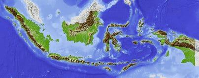Indonésia, mapa de relevo Ilustração Stock