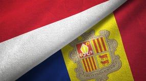 Indonesië en Andorra twee vlaggen textieldoek, stoffentextuur vector illustratie