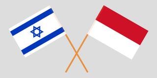 Indonesië en Israël De Indonesische en Israëlische vlaggen Offici?le kleuren Correct aandeel Vector royalty-vrije illustratie
