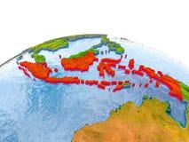 Indonesië op model van Aarde Stock Afbeeldingen