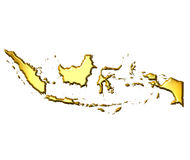 Indonesia 3d Golden Map Stock Image