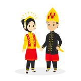 Indonesia - Aceh Traditional Wedding Dress Vector Illustration. Indonesia - Aceh couple wearing traditional wedding dress, cartoon vector illustration stock illustration