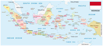 Indonesia administrative map with flag Royalty Free Stock Images