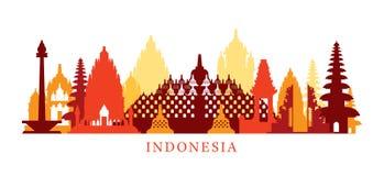Indonesia Architecture Landmarks Skyline, Shape vector illustration