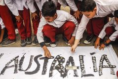 INDONESIA AUSTRALIA WORSENED RELATION. School children are attending Coins For Australia rally, to repay Australian humanitarian aid on Aceh Tsunami Disaster in Stock Image