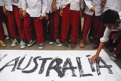 INDONESIA AUSTRALIA WORSENED RELATION. School children are attending Coins For Australia rally, to repay Australian humanitarian aid on Aceh Tsunami Disaster in Stock Photography