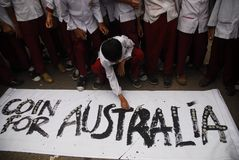 INDONESIA AUSTRALIA WORSENED RELATION. School children are attending Coins For Australia rally, to repay Australian humanitarian aid on Aceh Tsunami Disaster in Royalty Free Stock Photos