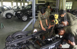 INDONESIA AUTOMOBILE MANUFACTURE STUDENTS Stock Image