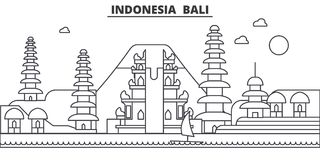 Indonesia, Bali architecture line skyline illustration. Linear vector cityscape with famous landmarks, city sights Royalty Free Stock Images