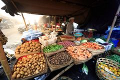 Balinese Hindu woman sells fresh local produce at her vendor for very little money royalty free stock photo