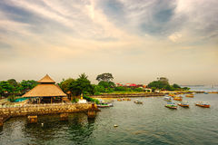 The thatched shed in harbour. Indonesia Bali Benoa.The thatched shed in harbour Stock Images