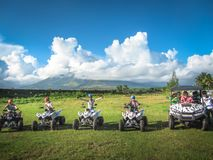 Indonesia. Bali. Summer 2015. Tourists go to the buggy to the volcano. stock photo