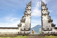 Indonesia - Bali - tourist standing betwen Lempuyang gate Royalty Free Stock Image