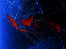 Indonesia on blue digital map with networks. Concept of international travel, communication and technology. 3D illustration. Elements of this image furnished vector illustration