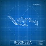 Indonesia blueprint map template with capital. Indonesia blueprint map template with capital city. Jakarta marked on blueprint Indonesian map. Vector Stock Photos