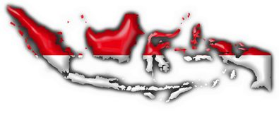 Indonesia button flag map shape Stock Photo