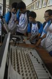 INDONESIA CALL TO STOP INAPPROPRIATE RADIO BROADCASTING. Students visit Indonesian Broadcasting Museum at Solo, Java, Indonesia. Indonesian Broadcasting royalty free stock images