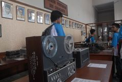 INDONESIA CALL TO STOP INAPPROPRIATE RADIO BROADCASTING. Students visit Indonesian Broadcasting Museum at Solo, Java, Indonesia. Indonesian Broadcasting stock photos