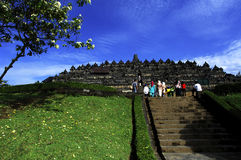 Indonesia, Central Java. The temple of Borobudur. Is a Mahayana Buddhist temple from the 9th century with a main shrine and several stupas; view of one of the Stock Image