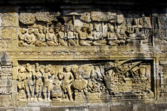 Indonesia, Central Java. The temple of Borobudur. Is a Mahayana Buddhist temple from the 9th century with a main shrine and several perforated stupas. View of Royalty Free Stock Photography