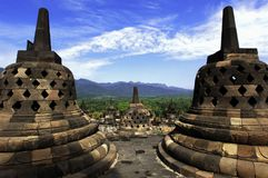 Indonesia, Central Java. The temple of Borobudur. Is a Mahayana Buddhist temple from the 9th century with a main shrine and several perforated stupas Stock Photos