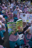 INDONESIA CHILDREN MALNUTRITION PROBLEM. Children attend World Book Day campaign in Solo, Java, Indonesia. Nutritional problems in Indonesia is still a cause for Stock Photography